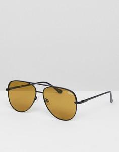 Солнцезащитные очки-авиаторы черного/оливкового цвета Quay Australia Sahara - Черный