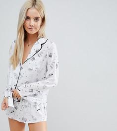 Пижамный комплект с шортами из 100% модала ASOS PETITE - Белый
