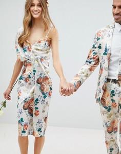Платье миди с завязкой на спине и цветочным принтом ASOS WEDDING - Мульти