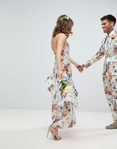 Платье макси с цветочным принтом и оборкой ASOS WEDDING - Мульти