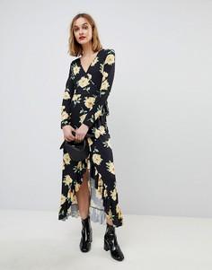 Платье макси с запахом и цветочным принтом ASOS - Мульти
