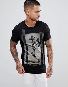 Обтягивающая футболка с принтом скелета Religion - Черный
