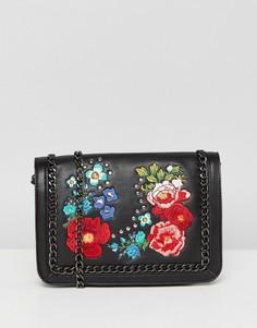 Сумка через плечо с цветочной вышивкой и ремешком-цепочкой ASOS - Черный