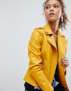Байкерская куртка из искусственной кожи Miss Selfridge - Желтый