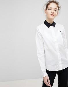Рубашка в клетку с контрастным воротником Fred Perry - Белый