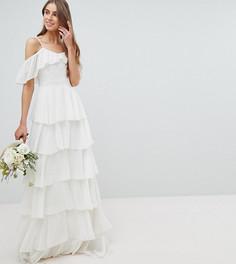 Ярусное платье макси с вырезами на плечах Amelia Rose Tall - Белый