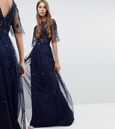 Платье макси с декорированным топом и короткими рукавами Amelia Rose Tall - Темно-синий
