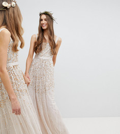 Платье макси с пайетками Amelia Rose Tall - Коричневый
