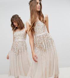 Платье миди с пайетками Amelia Rose Tall - Коричневый