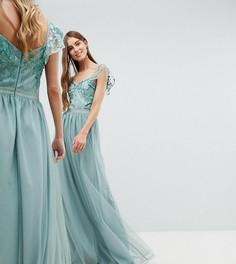 Платье макси с оборками на рукавах Amelia Rose Tall - Зеленый