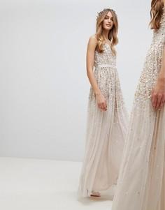 Платье макси с пайетками Amelia Rose - Коричневый
