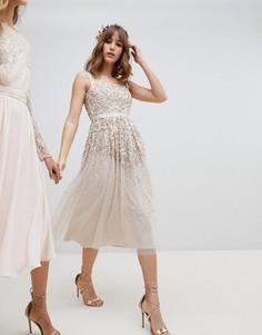 Платье миди с пайетками Amelia Rose - Коричневый