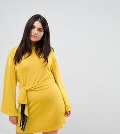 Платье мини с рукавами-кимоно и завязкой с бахромой ASOS CURVE - Желтый