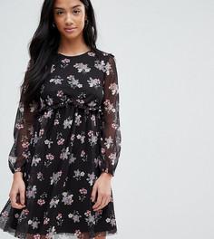 Сетчатое короткое приталенное платье с принтом ASOS PETITE - Мульти