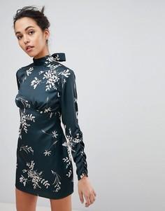 Платье мини с цветочным принтом Finders - Зеленый