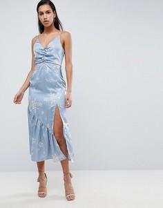 Платье миди с цветочным принтом Finders - Синий