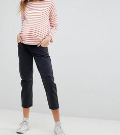 Черные джинсы бойфренда с рваной отделкой и вставкой для живота ASOS MATERNITY - Черный