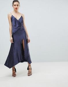 Платье на бретелях в горошек с разрезом Bec & Bridge - Темно-синий
