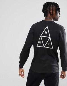 Черный лонгслив с треугольниками Huf - Черный