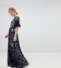 Кружевное платье макси с цветочной вышивкой и рукавами клеш Frock And Frill - Темно-синий