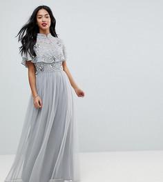 Премиум-платье макси с высоким воротом и отделкой на лифе Frock And Frill Petite - Серый