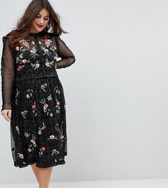 Короткое приталенное премиум-платье из тюля с эффектом металлик и вышивкой Frock And Frill Plus - Черный