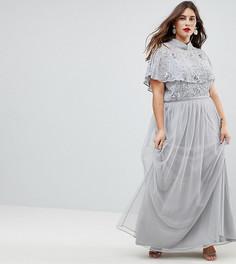 Премиум-платье макси с декорированным топом и высоким воротником Frock And Frill Plus - Серый