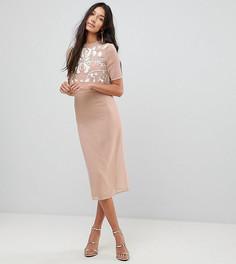 Платье-футляр 2 в 1 с декорированным топом Frock And Frill Tall - Бежевый
