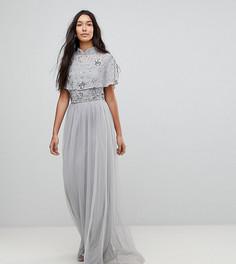 Премиум-платье макси с декорированным топом и высоким воротником Frock And Frill Tall - Серый