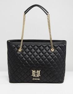 Стеганая сумка-шоппер с цепочкой Love Moschino - Черный
