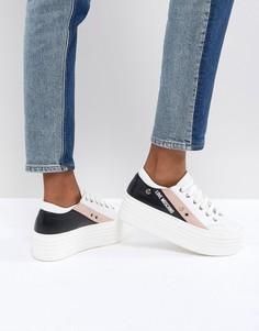Кроссовки на плоской платформе Love Moschino - Белый