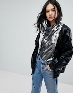 Двусторонняя непромокаемая куртка на серебристой подкладке Blank NYC - Черный