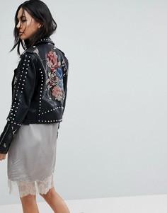 Байкерская куртка с заклепками и вышивкой Blank NYC - Черный