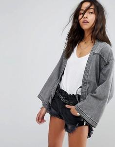 Джинсовая куртка в стиле кимоно с завязками One Teaspoon - Серый