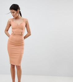 Платье-футляр с глубоким вырезом и отделкой цвета розового золота Vesper - Рыжий