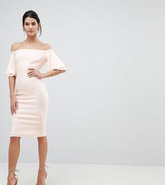 Платье-футляр с оборками на рукавах и открытыми плечами Vesper - Розовый