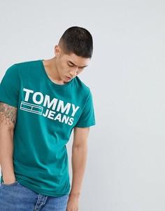 Зеленая футболка с большим логотипом Tommy Jeans - Зеленый Hilfiger Denim