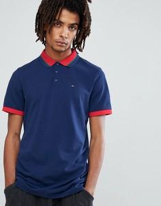 Темно-синее поло с логотипом и контрастной отделкой Tommy Jeans Icon - Темно-синий Hilfiger Denim