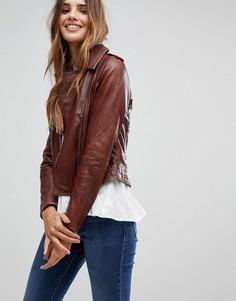 Темно-коричневая кожаная байкерская куртка Barneys Originals - Коричневый