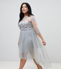 Приталенное платье миди с высоким воротом, кружевом и асимметричным краем Chi Chi London Plus - Серый