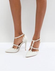 Остроносые туфли-лодочки с заклепками и ремешками Dune London Bridal - Кремовый