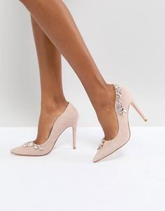 Розовые замшевые туфли-лодочки с отделкой переливающимися бусинами Dune London Bridal - Розовый