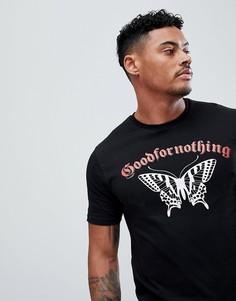 Черная обтягивающая футболка с логотипом Good For Nothing - Черный