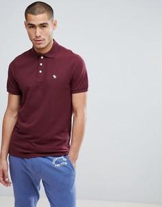 Бордовая узкая футболка-поло из стретчевого пике с логотипом Abercrombie & Fitch - Красный