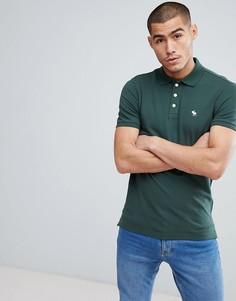 Зеленая узкая футболка-поло из эластичного пике с логотипом в форме лося Abercrombie & Fitch - Зеленый