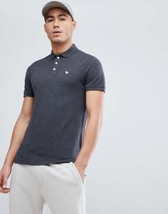 Темно-серая меланжевая футболка-поло слим из стретчевого пике с логотипом лося Abercrombie & Fitch - Серый