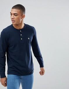 Темно-синий лонгслив хенли с логотипом Abercrombie & Fitch - Темно-синий