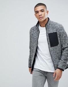 Серый флисовый спортивный свитшот с молнией Abercrombie & Fitch Black Label - Серый