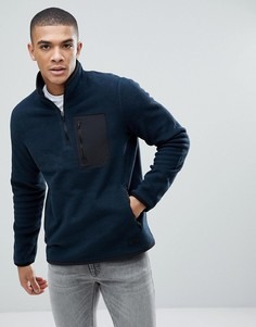 Темно-синий флисовый спортивный свитшот с молнией Abercrombie & Fitch Black Label - Темно-синий