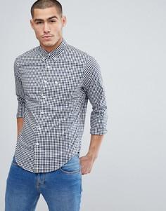 Темно-синяя поплиновая рубашка в клетку Abercrombie & Fitch - Темно-синий
